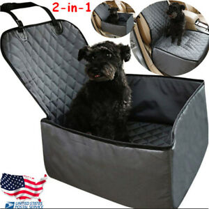 Pet Front Seat Cover Car Dog Bucket Booster Seat Protector Non slip 2in1 Zipper
