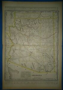 Vintage Circa 1904 Arizona Territory Railroad Map Antique Original Folio Size