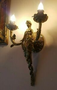 Bronze Brass Female Figure Wall Sconce Pair Perfect 18
