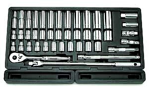 6 point Sae And Metric Chrome Socket Set 43 Pc 1 2 Drive