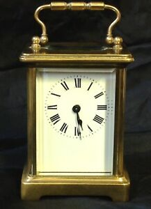 Antique Solid Brass Carriage Clock 8 Day Brass Movement With Key
