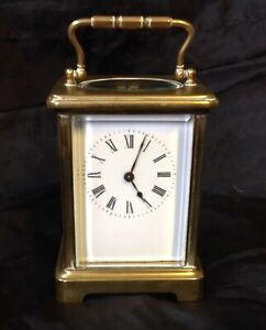 Vintage Antique Solid Brass Carriage Clock Wind Up 8 Day Brass Movement