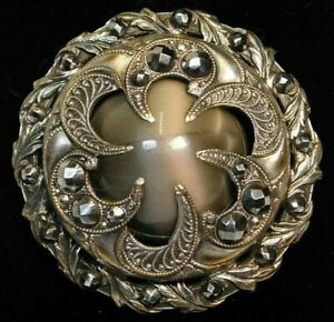 Antique Vtg Button Large Victorian Brass Jewel W Faceted Steels Breathtaking