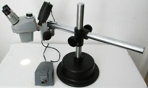 Bausch Lomb 7x 3x Stereo Zoom Microscope 10x Eyepieces Light Boom Stand