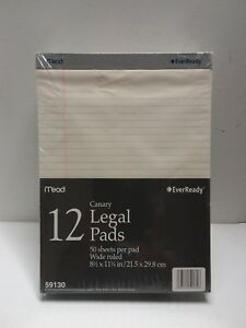 Mead 50 Sheets 8 1 2 X 11 3 4 Legal Pad pack Of 12 59130 Paper
