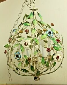 Vintage Mid Century Large Metal Tole Floral Hanging Swag Light Chandelier