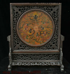Antique Old Chinese Rosewood Wood Lacquerware Dragon Loong Folding Screen Statue