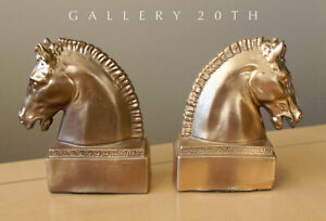Wow Pair Mid Century Modern Horse Book Ends 50 S 60 S Gold Bakelite Catalin