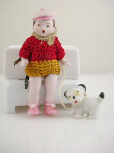 Germany Vintage Porcelain Bisque Boy Dog Doll Figurine Knitted Outfit 2 5