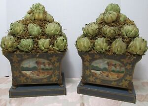 Pr Scenic Tole Planters With Artichoke Topiaries 12x20 Footed Pots Life Size