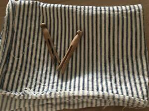 Old Primitive Piece Of Navy Blue And White Ticking Craft Fabric Textile Aafa