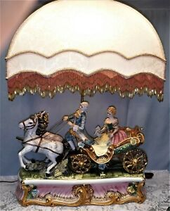 Signed Capodimonte Large Italian Horse Carriage Porcelain Lamp Fringe Shade