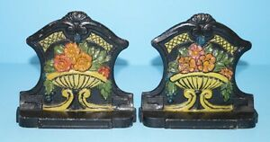 Antique Mixed Garden Flowers In Urn Cast Iron Bookends Circa 1920 S