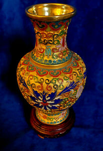 7 Tall Vintage Chinese Cloisonn Enamel Brass Vase With Handcrafted Design