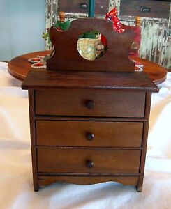 Antique Vintage Walnut Miniature Doll Toy Wood Wooden Chest Of Drawers
