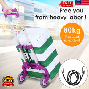 176lbs Folding Hand Truck Dolly Collapsible Trolley Cart Luggage Moving 2 wheels