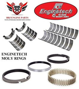 Enginetech Ford 429 460 V8 Rod And Main Bearings With Moly Piston Rings 68 93