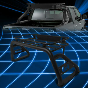 For 07 18 Silverado sierra Truck Bed Black Aluminum Roll Bar Cage cargo Basket