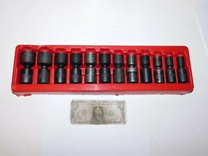 Snap On 1 2 Drive Sae Swivel Universal Impact Socket Set 12 Pc 1 2 1 3 16