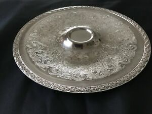 Vintage Wm Rogers And Son Spring Flower Silver Plated Platter Tray Collectible