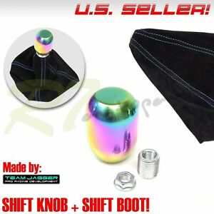Fit Jeep Dodge M10 Neo Stainless Steel Gear Stick Shifter Knob Blue Stitch Boot
