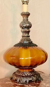 Vtg Mcm Amber Optic Glass Saucer Table Lamp Ornate Brass Atomic Night Light