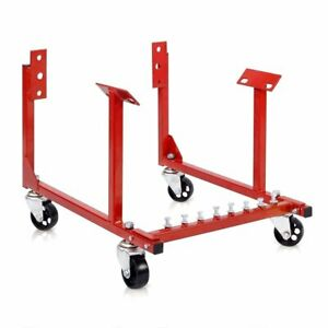 Chevy Engine Cradle Stand 1000lbs Dolly Chrysler Chevrolet Swivel Wheels Red