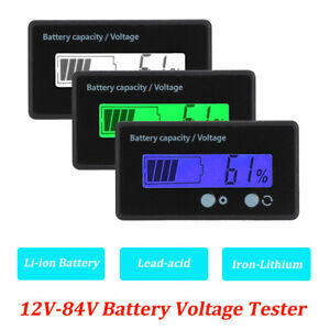 12 84v Lcd Battery Capacity Voltage Tester Meter Monitor Voltmeter Indicator Ss