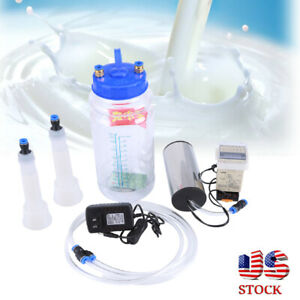 2l 6kit Portable Vacuum Pump Electric Milking Bottle Machine Farm Cow Sheep Goat