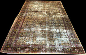 An Antique Palace Size Gold Ground Worn Out Mahal Rug Boho Chic