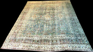 An Antique Light Blue Ground Worn Out Persian Meshad Dorokhsh Rug Boho Chic