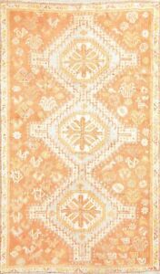 Muted Vintage Geometric Abadeh Oriental Wool Area Rug Hand Knotted 4x8 Carpet