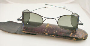 Antique Railway Carriage Double D Tinted Folding Eyeglasses Spectacles