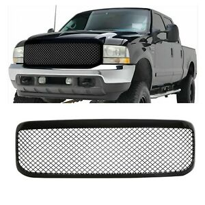 For 1999 2004 Ford F250 F350 F450 Gloss Black Mesh Front Bumper Grill Grille Abs