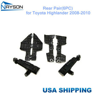 For Toyota Highlander 2008 2010 Bumper Brackets Support Plastic Rear 1 Set 6pc