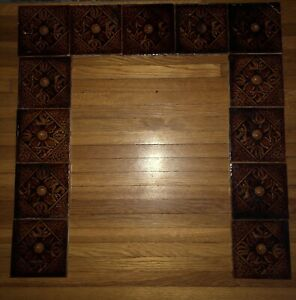 Trent Tile Co Antique Victorian Majolica Fireplace Set Of 13 6x6 Brown
