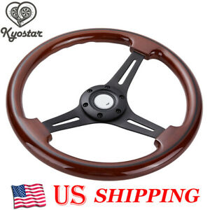 350mm Wooden Steering Wheel 2 Deep 6 Hole Matte Black Spoke Walnut Wood Grain