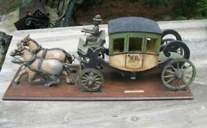 Stagecoach Horse Hand Carved Folk Art Antique Horses Leather Harness C1910