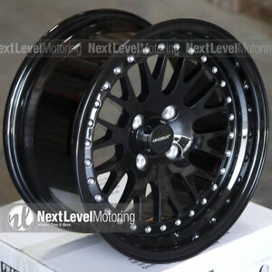 Circuit Cp21 15 8 4 100 25 Full Gloss Black Wheels Fits Honda Civic Ek Eg Mesh