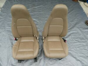 1999 2000 Mazda Miata Leather Seats Pair Set Tan Leather Flaws