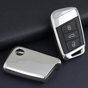For Vw Skoda Silver Tpu Smart Key Case Soft Shell Protector Cover Accessories