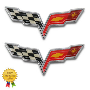 2005 13 Corvette C6 Z06 Zr1 Grand Sport Rear Crossed Flags Emblem Oem 22901568
