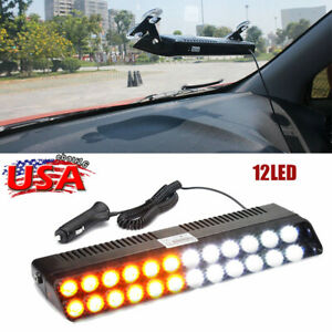 12led Amber White Emergency Strobe Light Auto Windshield Flash Warning Turn Lamp