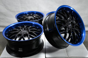 17x7 5 5x100 5x114 3 Blue Wheels Fits Civic Matrix Prius Is200t Is250 5 Lug Rims