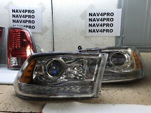 2009 2018 Dodge Ram Chrome Projector Led Signal Drl Halogen Headlight Pair h16