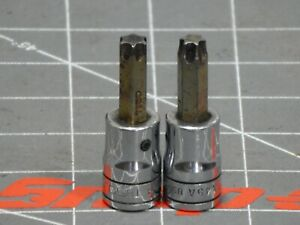 Snap On Tools 2pc Lot 3 8 Drive Torx Star Socket Driver T45 Ftx45a T50 Ftxb50 Dr