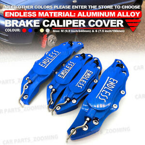 4x Blue Metal 3d Endless Universal Style Brake Caliper Cover Front And Rear Wl04