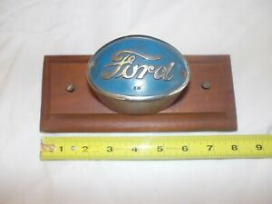 Ferguson Ford 2n Tractor Original Rare Front Hood Oval Emblem On Wood Plaque