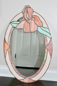 Vintage Art Deco Nouveau Stained Glass Georgia O Keefe Iris Flower Wall Mirror