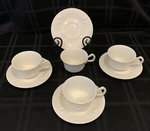 Vintage Red Cliff Grapes White Ironstone 4 Cups Saucers
